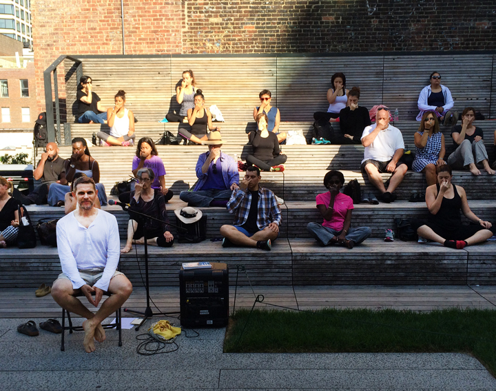 NYC - Tim Groen leading the public meditation on the High Line for Integral Yoga.